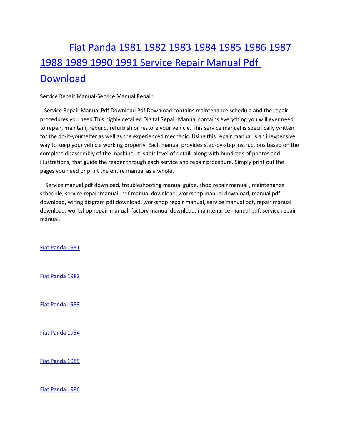 hight resolution of fiat panda 1981 1982 1983 1984 1985 1986 1987 1988 1989 1990 1991 service manual repair pdf download by amurgului issuu