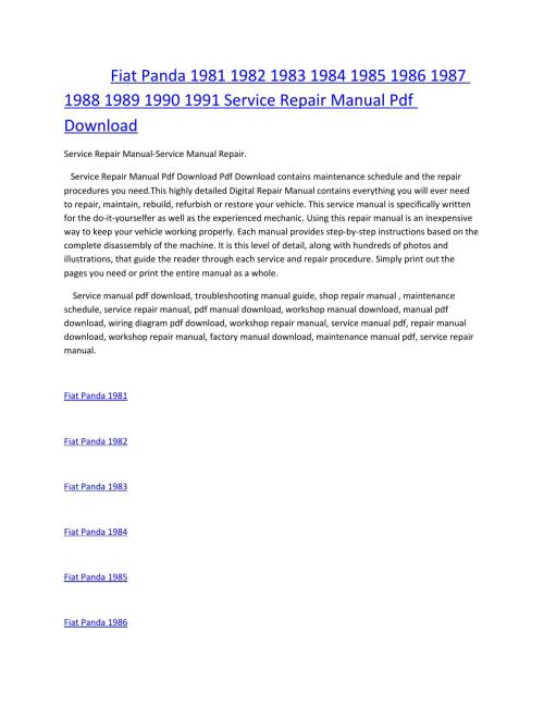 small resolution of fiat panda 1981 1982 1983 1984 1985 1986 1987 1988 1989 1990 1991 service manual repair pdf download by amurgului issuu