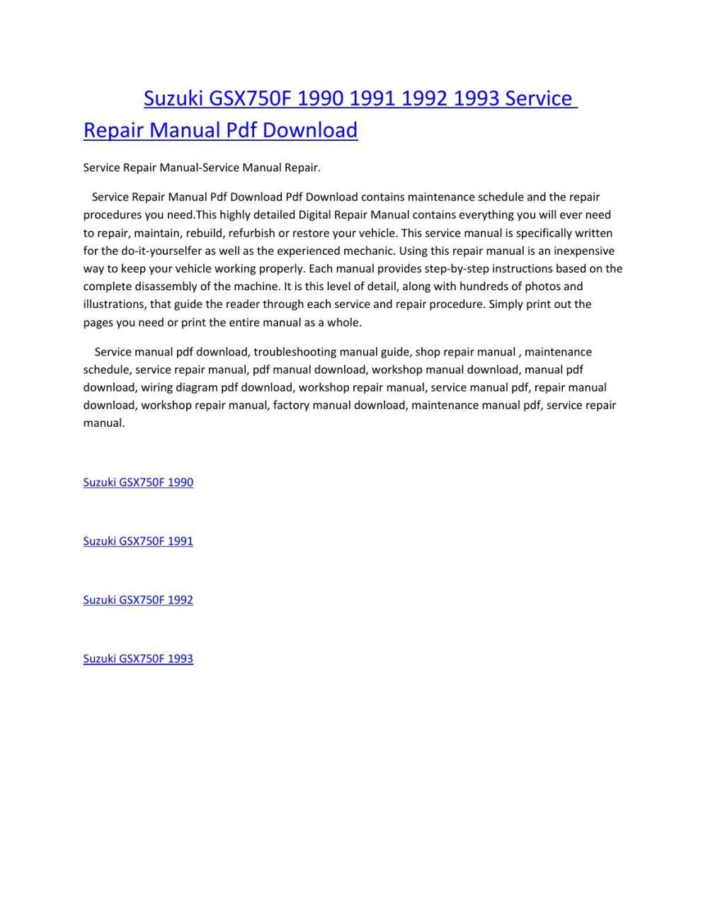 medium resolution of suzuki gsx750f 1990 1991 1992 1993 service manual repair pdf download