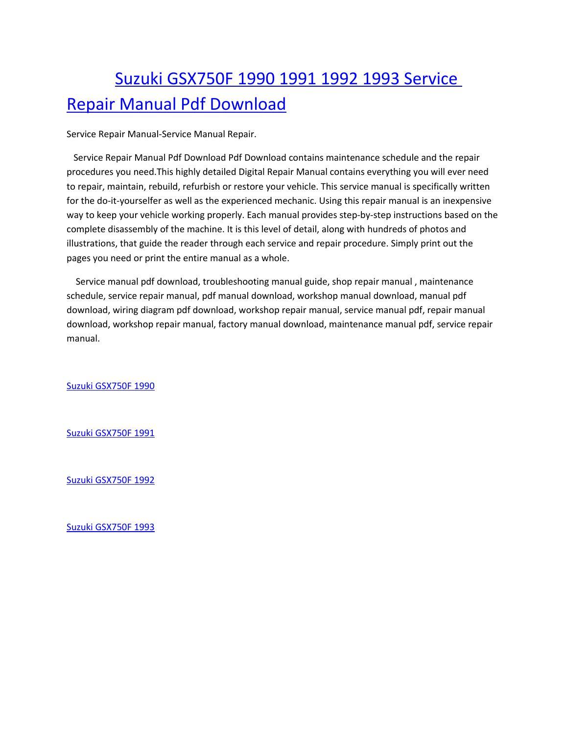 hight resolution of suzuki gsx750f 1990 1991 1992 1993 service manual repair pdf download
