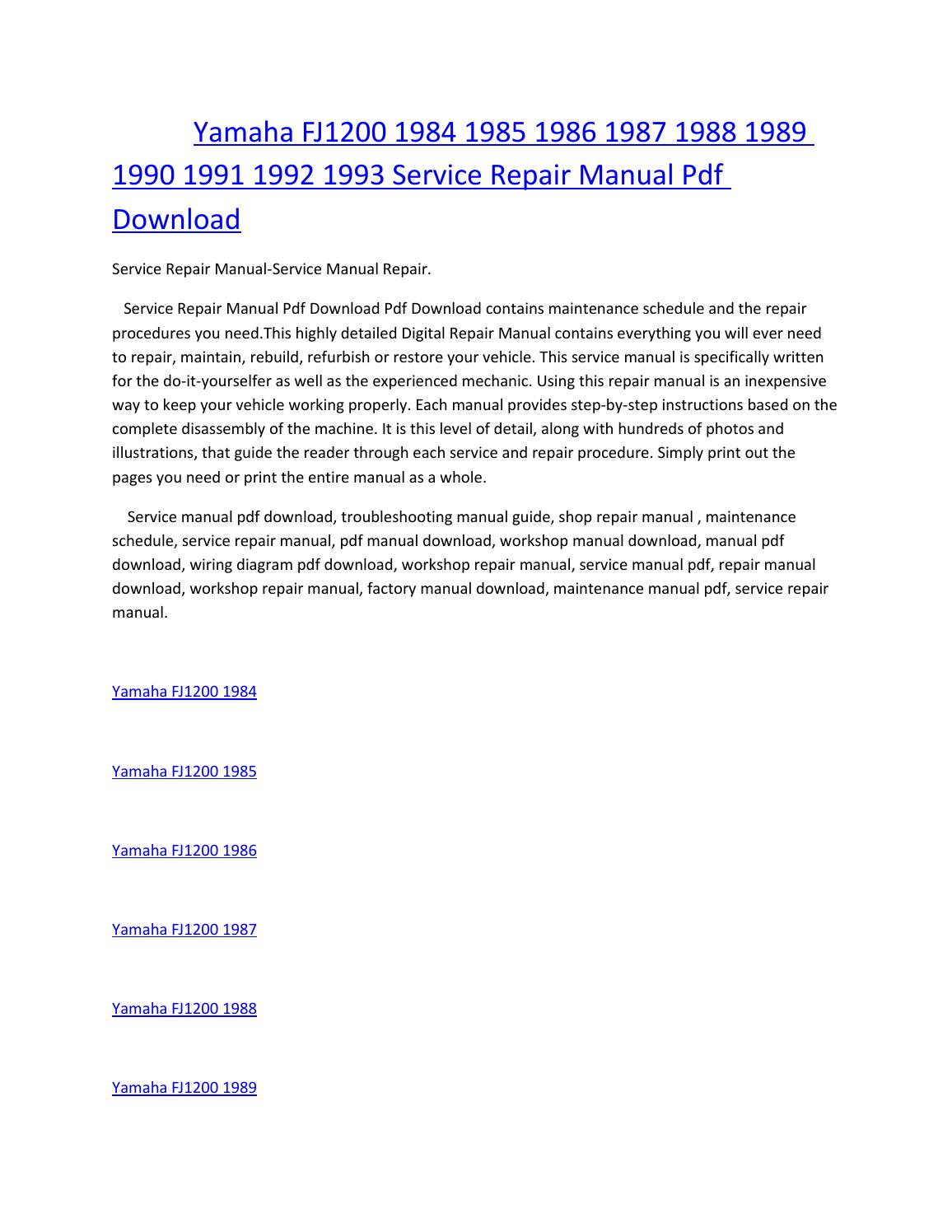 fj1200 wiring diagram 1997 kawasaki bayou 300 yamaha 1984 1985 1986 1987 1988 1989 1990 1991 1992 1993 service manual repair pdf download by amurgului issuu
