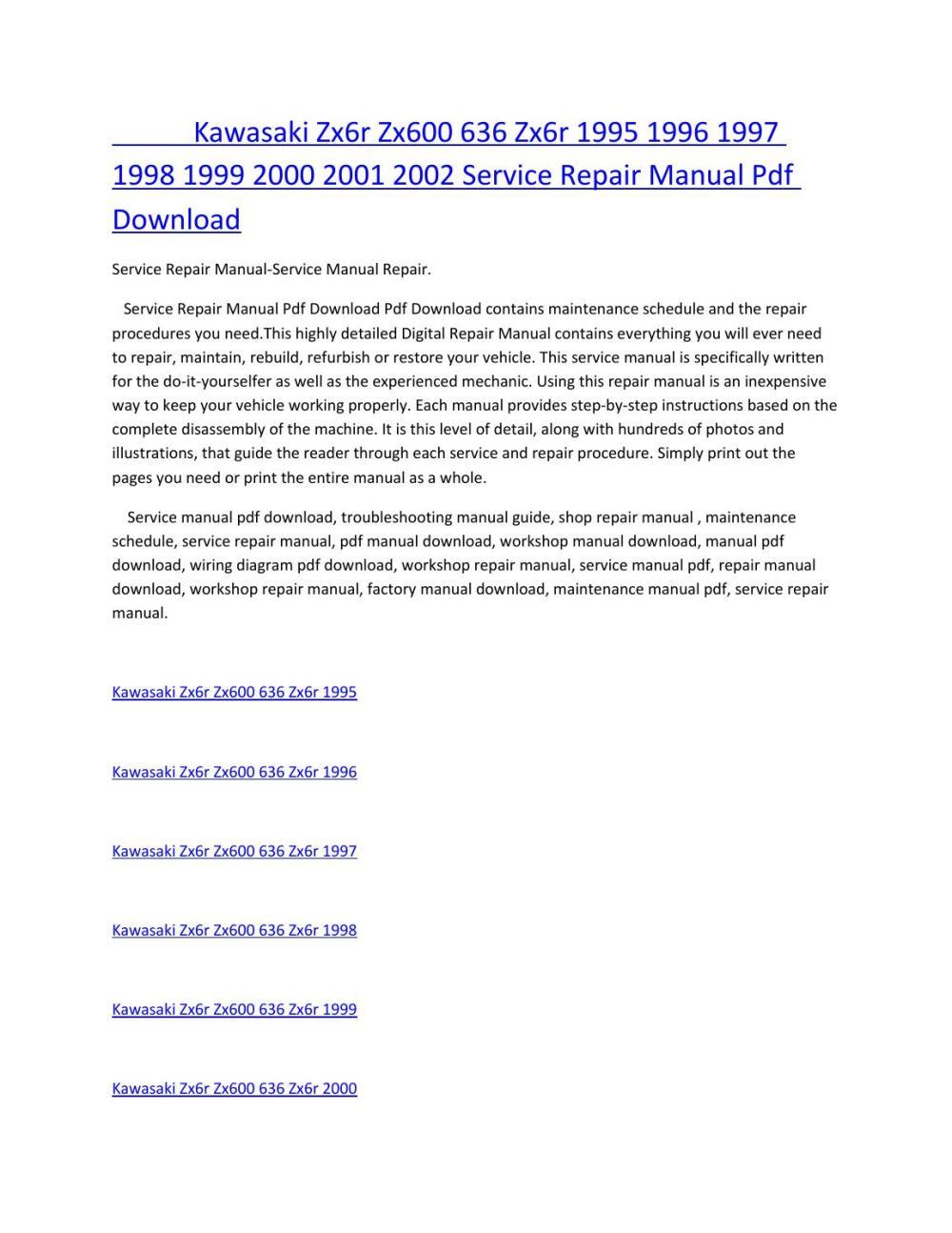medium resolution of kawasaki zx6r zx600 636 zx6r 1995 1996 1997 1998 1999 2000 2001 2002 service manual repair pdf downl by amurgului issuu