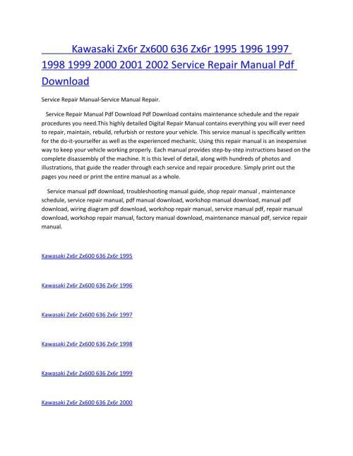 small resolution of kawasaki zx6r zx600 636 zx6r 1995 1996 1997 1998 1999 2000 2001 2002 service manual repair pdf downl by amurgului issuu
