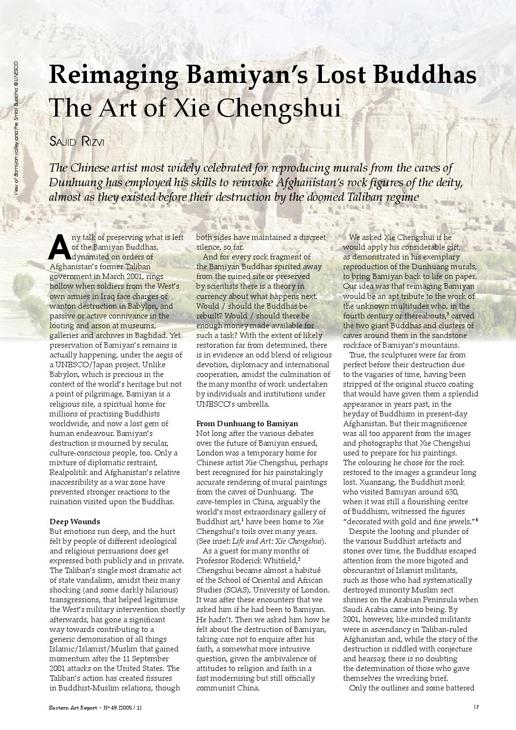 Eastern Art Report Issue 49 Reimaging Bamiyan S Lost