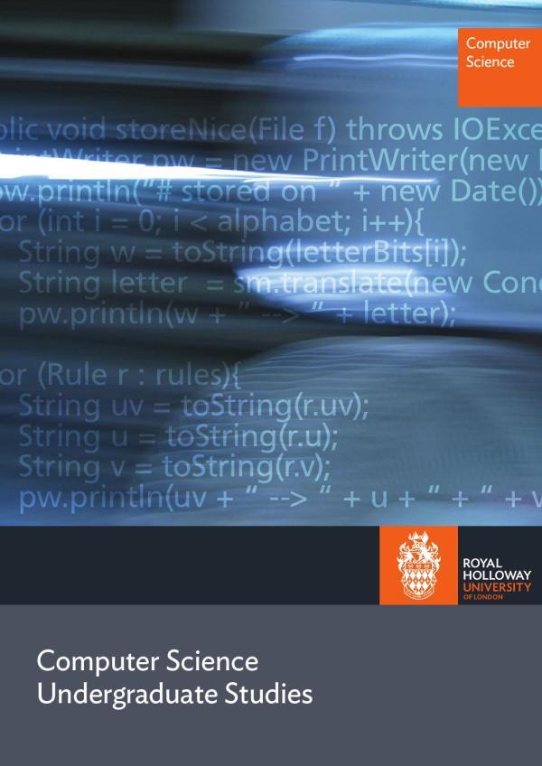Computer Science Ug Brochure June 2014 Royal Holloway
