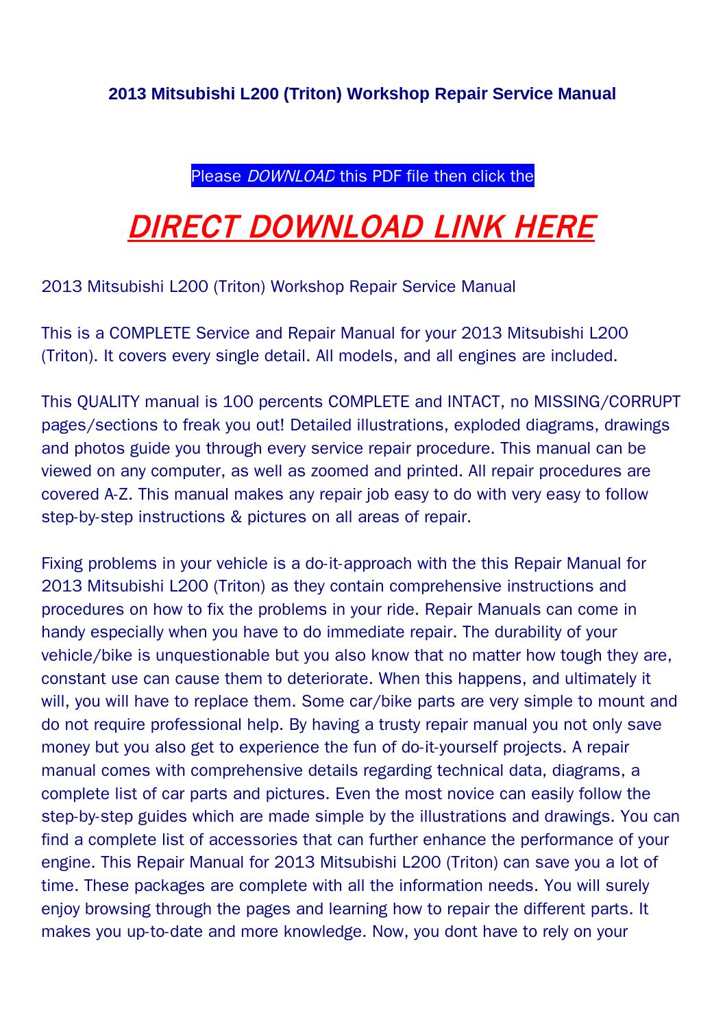 hight resolution of 2013 mitsubishi l200 triton workshop repair service manual by huou issuu