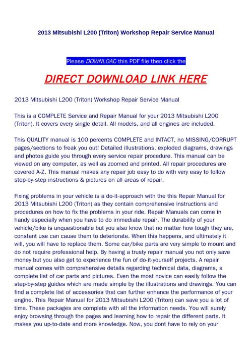 small resolution of 2013 mitsubishi l200 triton workshop repair service manual by huou issuu