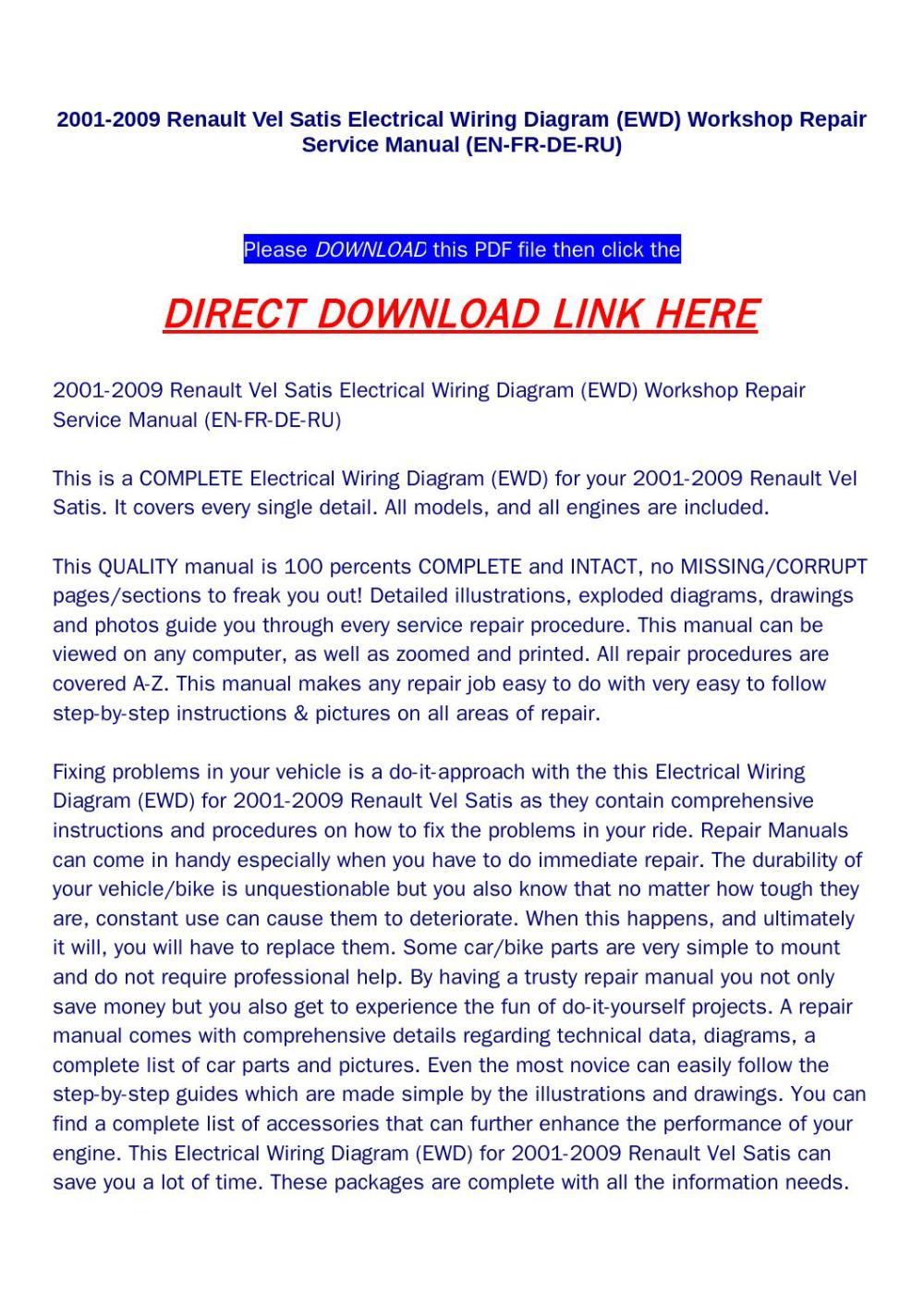 medium resolution of 2001 2009 renault vel satis electrical wiring diagram ewd workshop repair service manual en fr de by huou issuu