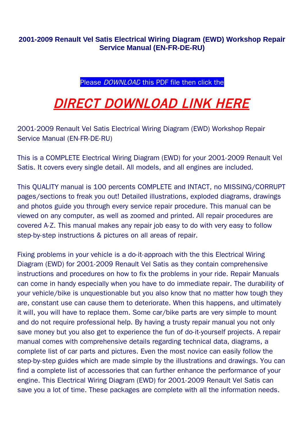 hight resolution of 2001 2009 renault vel satis electrical wiring diagram ewd workshop repair service manual en fr de by huou issuu
