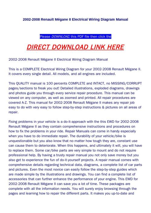 small resolution of 2002 2008 renault m gane ii electrical wiring diagram manual by huou issuu