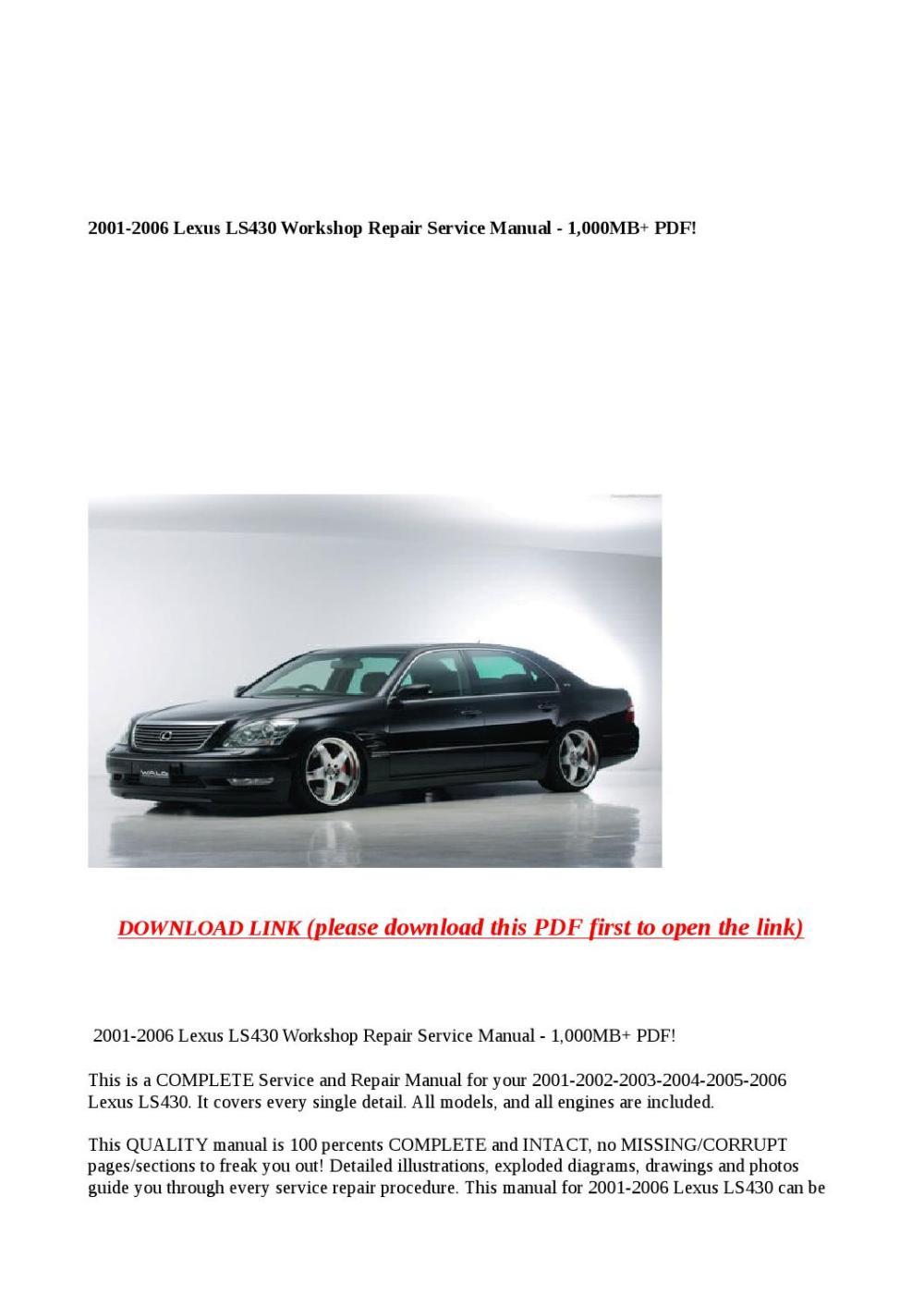 medium resolution of 2001 2006 lexus ls430 workshop repair service manual 1 000mb pdf
