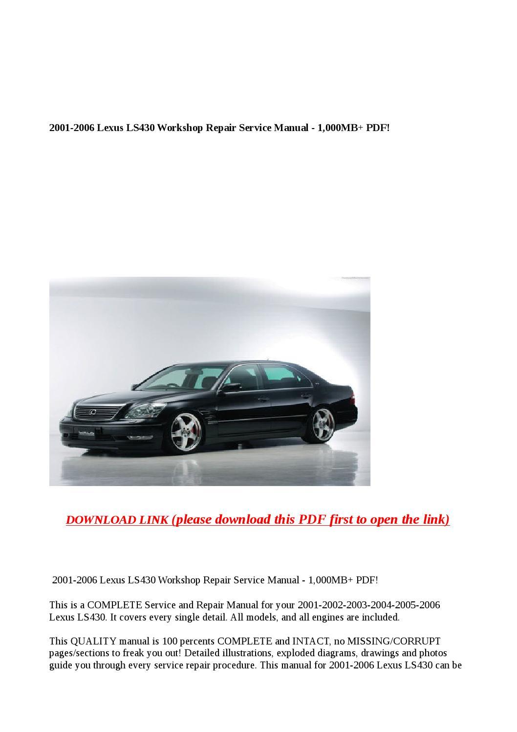 hight resolution of 2001 2006 lexus ls430 workshop repair service manual 1 000mb pdf