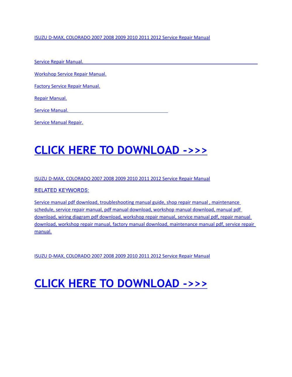 medium resolution of isuzu d max colorado 2007 2008 2009 2010 2011 2012 service repair manual by miha issuu