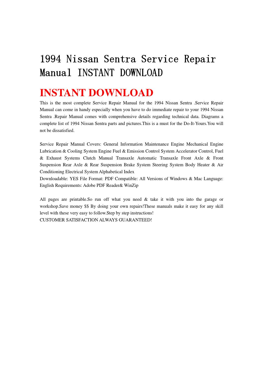 1994 nissan sentra engine diagram how to read avionics wiring diagrams service repair manual instant download