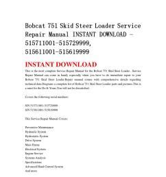 bobcat 751 skid steer loader service repair manual instant download 515711001 515729999 515611001 5 [ 1058 x 1497 Pixel ]