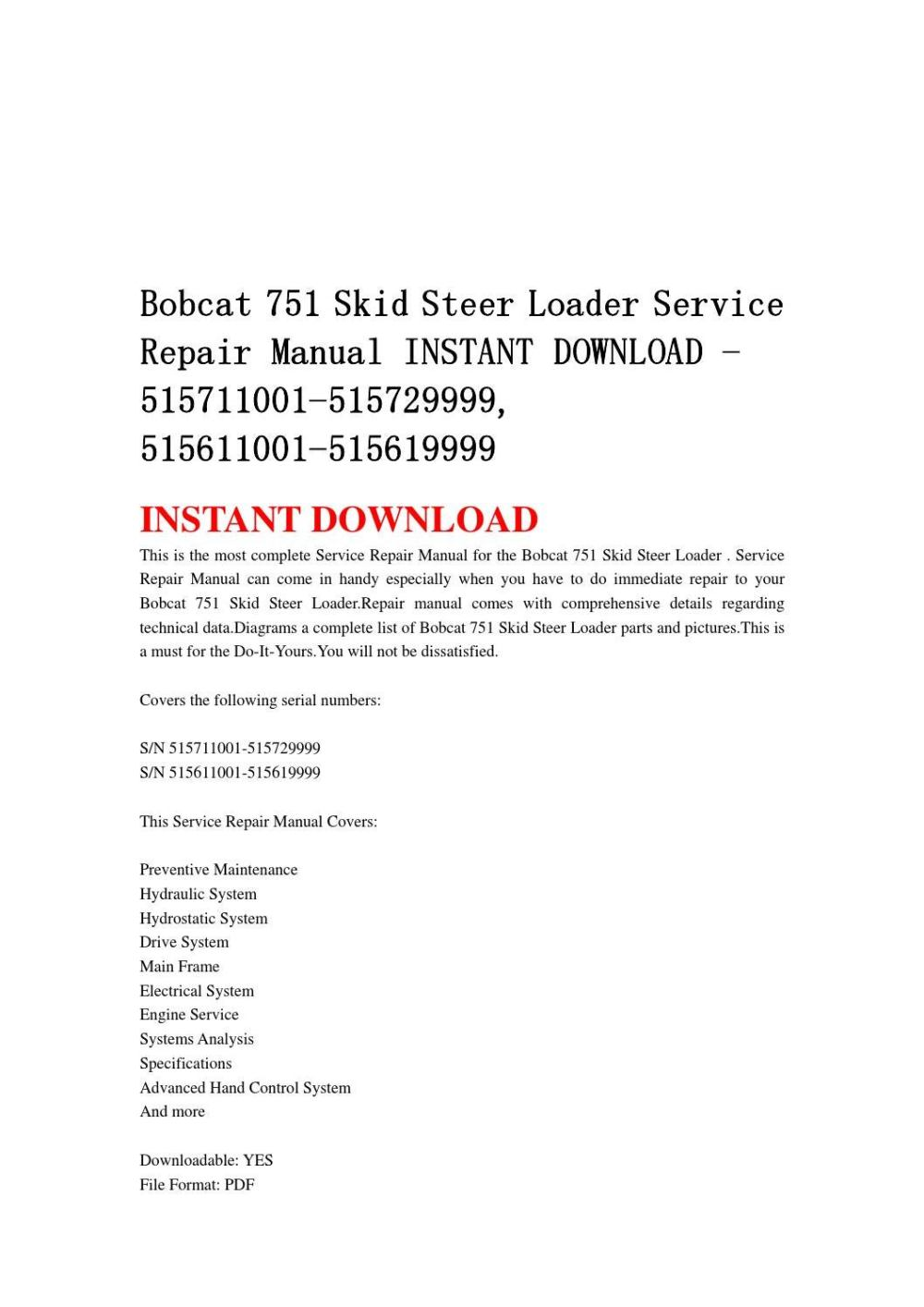 medium resolution of bobcat 751 skid steer loader service repair manual instant download 515711001 515729999 515611001 5
