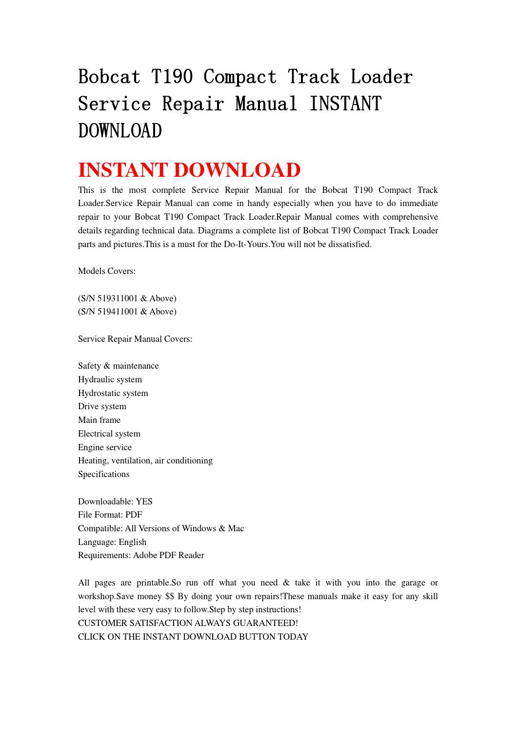 hight resolution of bobcat t190 compact track loader service repair manual instant download0