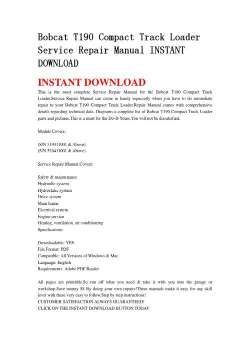 small resolution of bobcat t190 compact track loader service repair manual instant download0