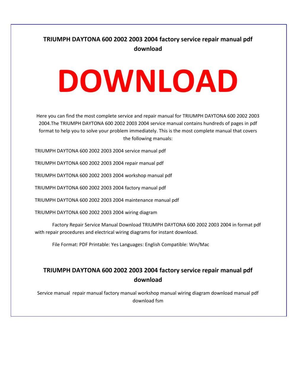 medium resolution of triumph daytona 600 2002 2003 2004 service repair manual by service manual issuu