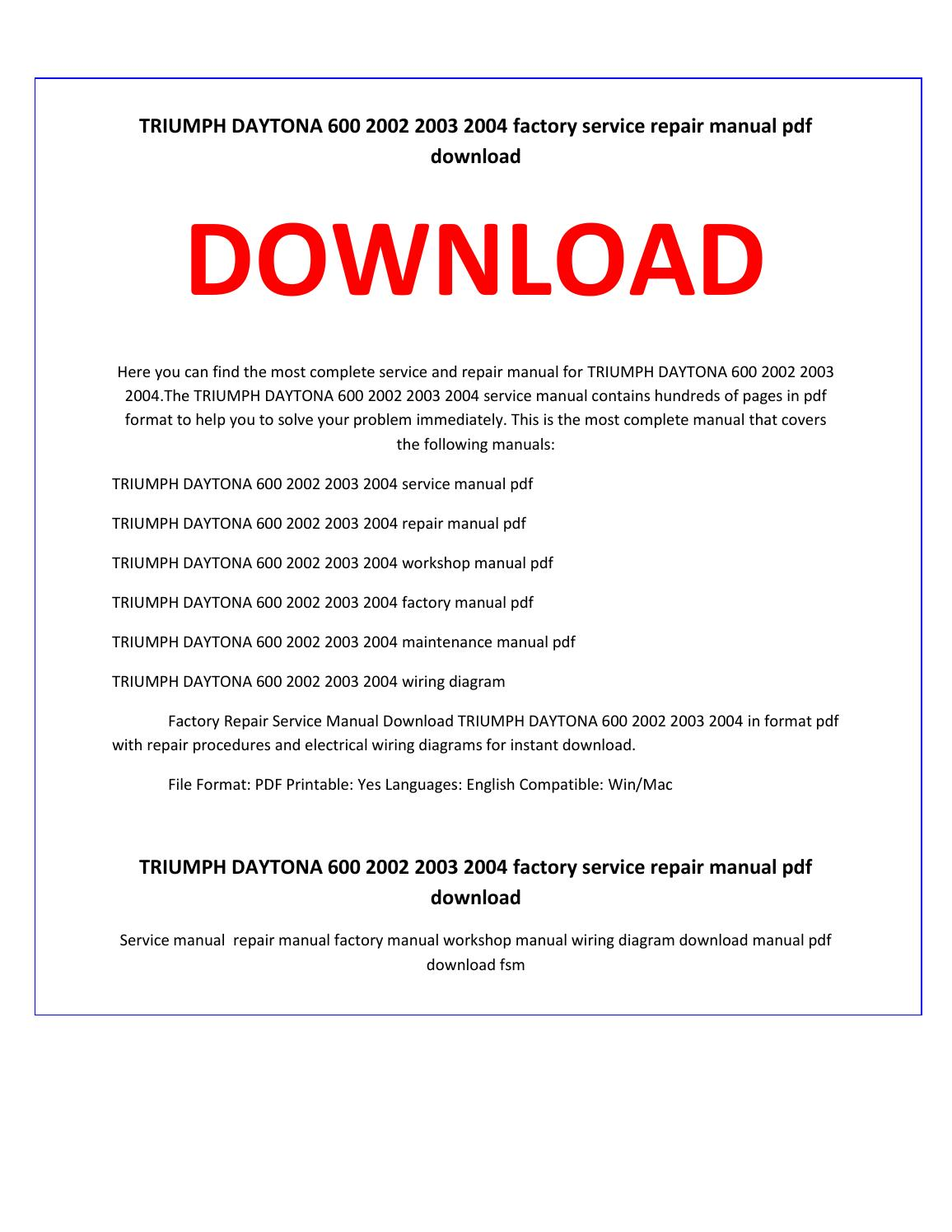 hight resolution of triumph daytona 600 2002 2003 2004 service repair manual by service manual issuu