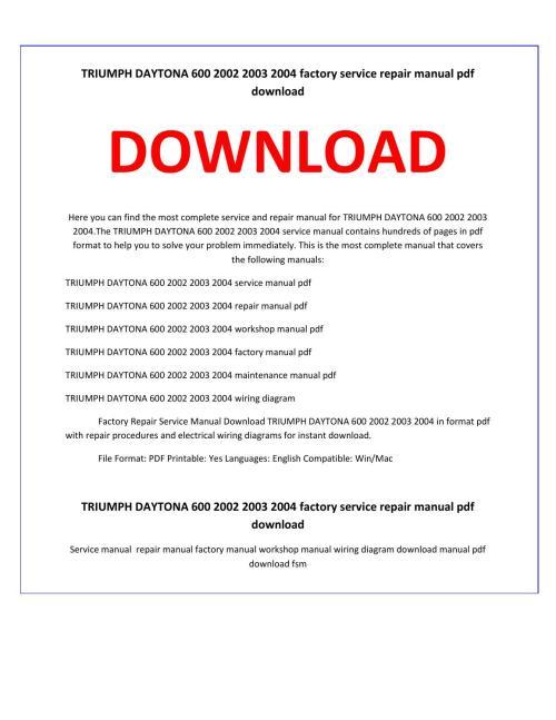 small resolution of triumph daytona 600 2002 2003 2004 service repair manual by service manual issuu