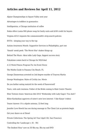 Articles and Reviews for April 11, 2012 by