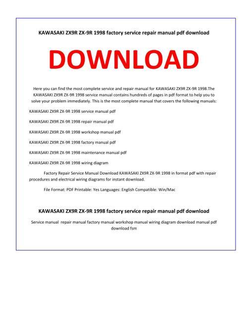 small resolution of kawasaki zx9r zx 9r 1998 service repair manual