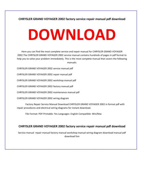 small resolution of chrysler grand voyager 2002 service repair manual by service manual issuu