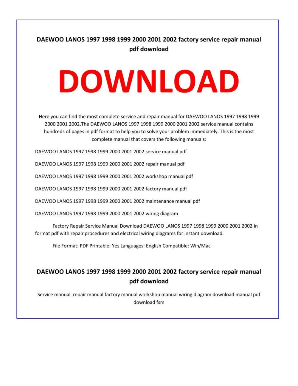 medium resolution of daewoo lanos 1997 1998 1999 2000 2001 2002 service repair manual