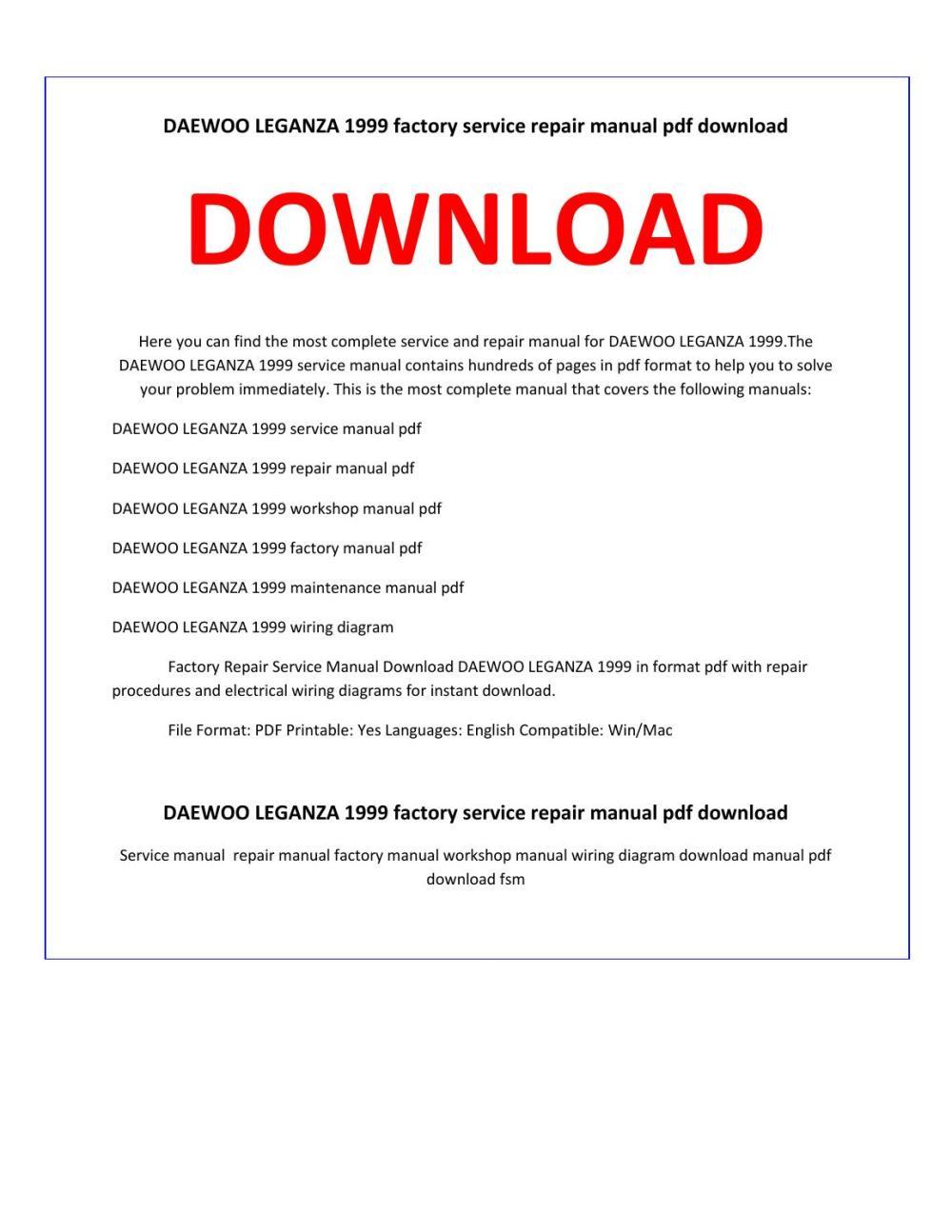 medium resolution of daewoo leganza 1999 service repair manual