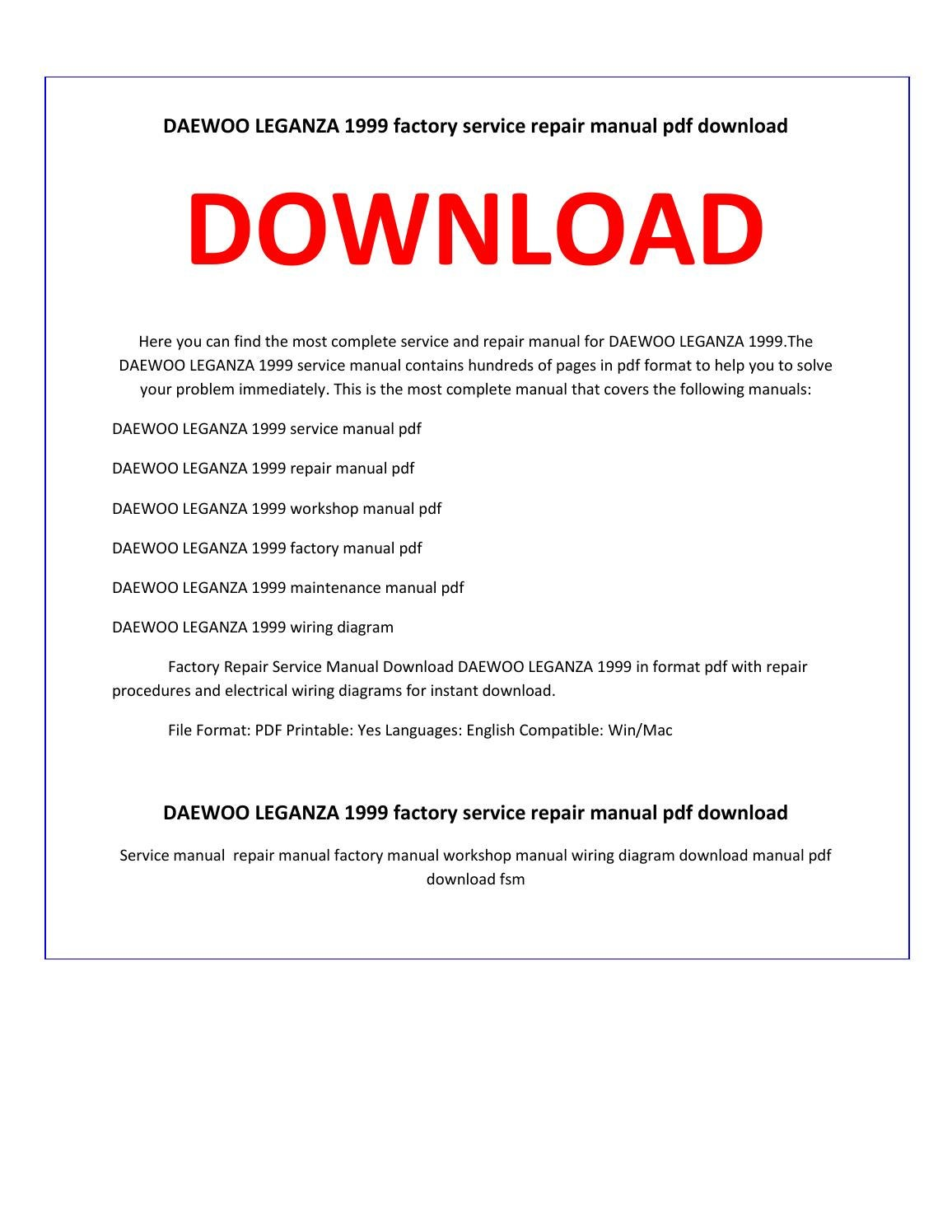 hight resolution of daewoo leganza 1999 service repair manual