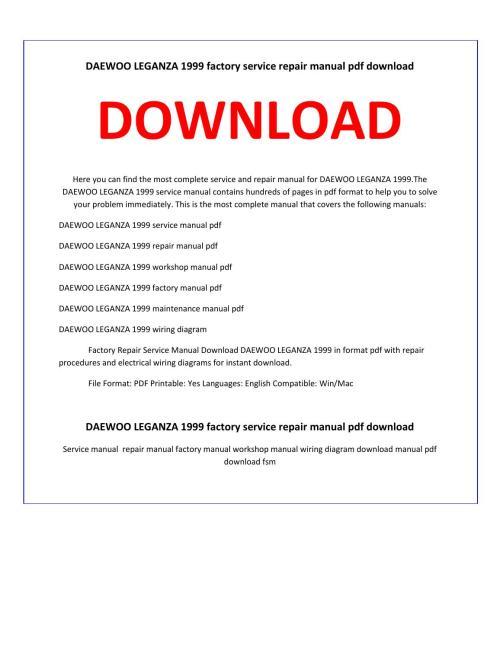 small resolution of daewoo leganza 1999 service repair manual