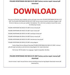 polaris sportsman 450 500 x2 efi 2007 service repair manual [ 1156 x 1496 Pixel ]