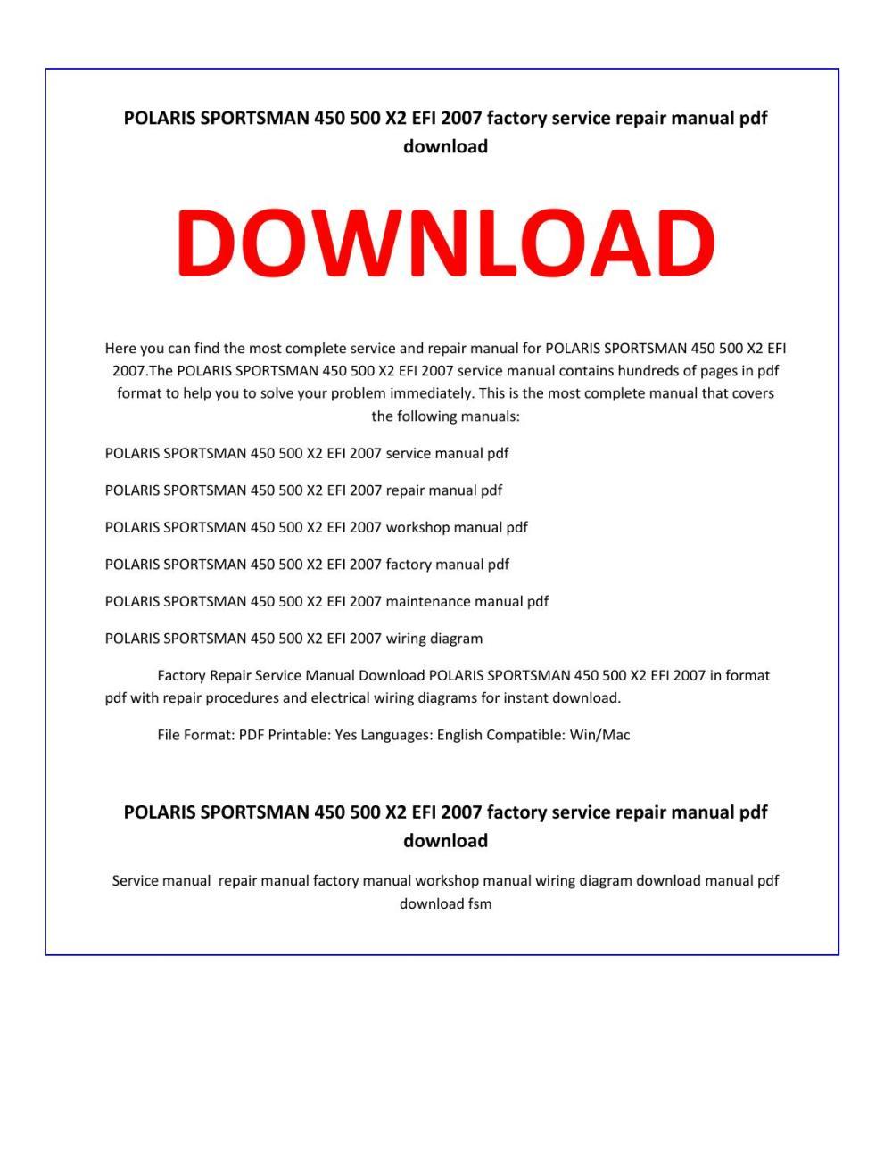 medium resolution of polaris sportsman 450 500 x2 efi 2007 service repair manual