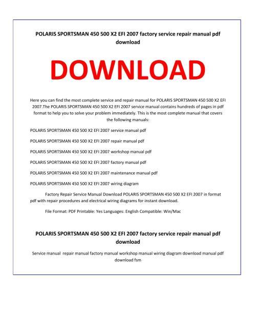 small resolution of polaris sportsman 450 500 x2 efi 2007 service repair manual