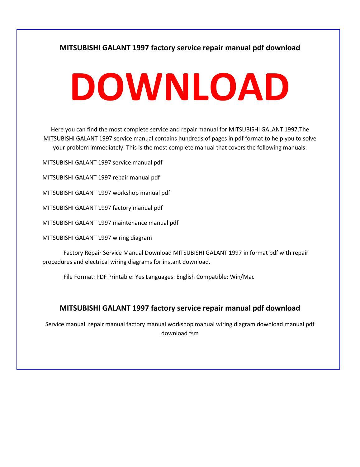 hight resolution of mitsubishi galant 1997 service repair manual