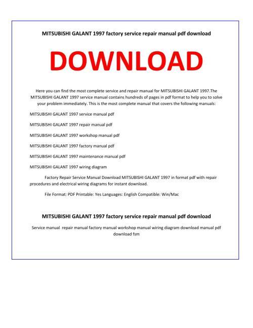 small resolution of mitsubishi galant 1997 service repair manual