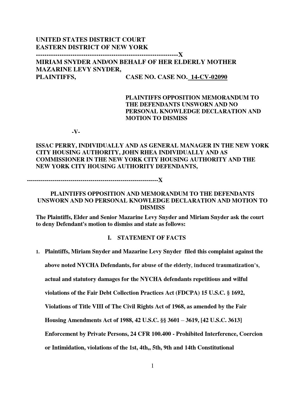 NYCHA SANCTIONABLE MOTION RESPONSE OPPOSITION MOTION by PRAYER WARRIOR  Issuu