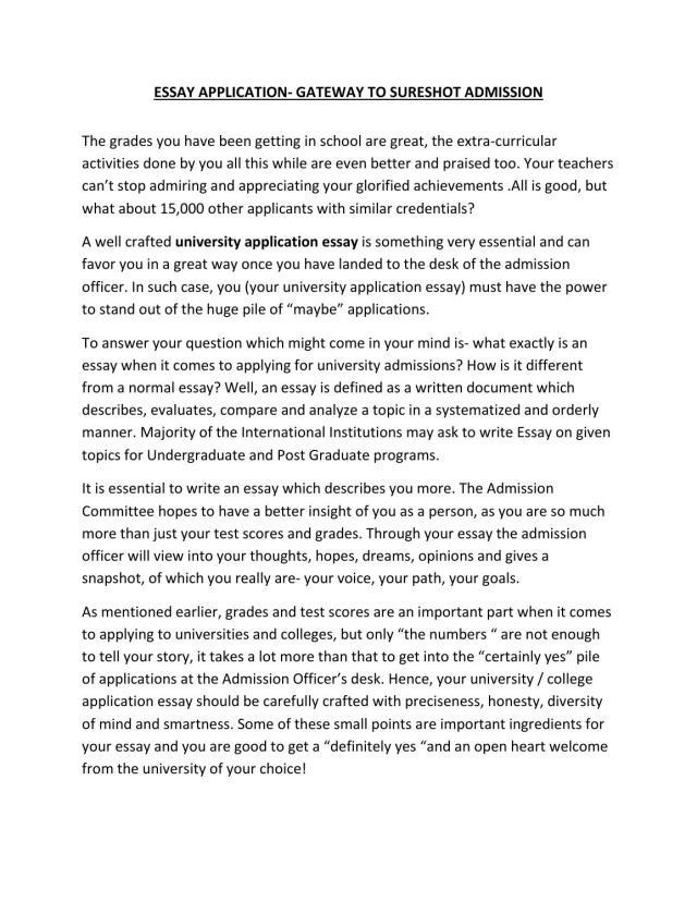 Essay application gateway to sureshot admission by mapmystudy - issuu