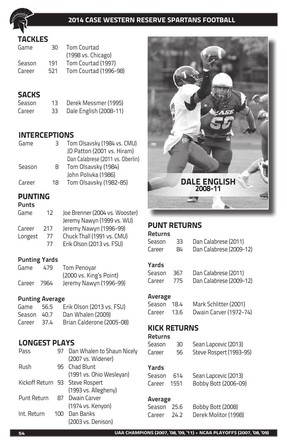2014 CWRU Football Media Guide by Case Western Reserve