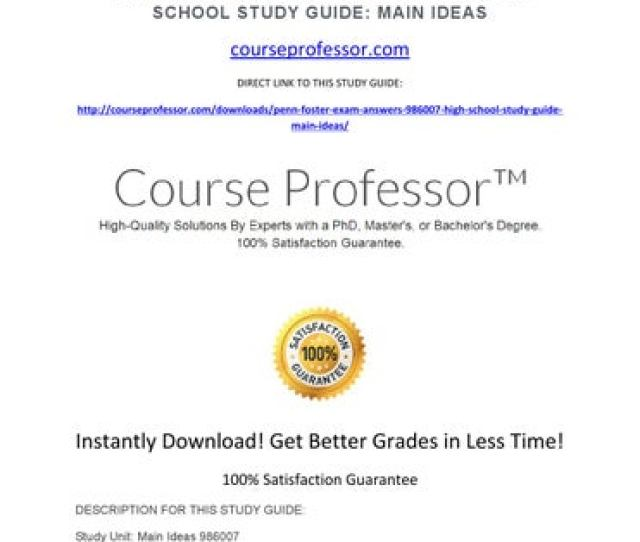 Penn Foster Exam Answers 986007 High School Study Guide Main Ideas