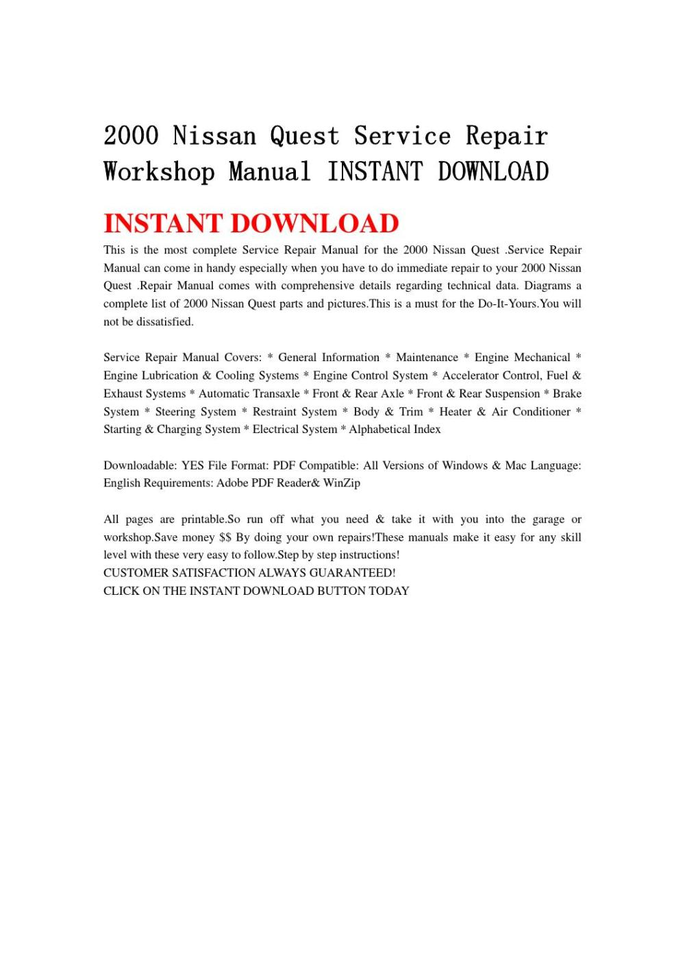 medium resolution of 2000 nissan quest service repair workshop manual instant download by hfgsbefhnsebb issuu