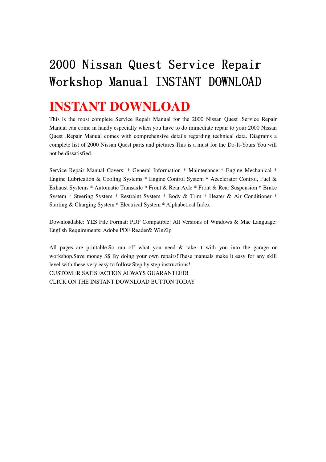 hight resolution of 2000 nissan quest service repair workshop manual instant download by hfgsbefhnsebb issuu