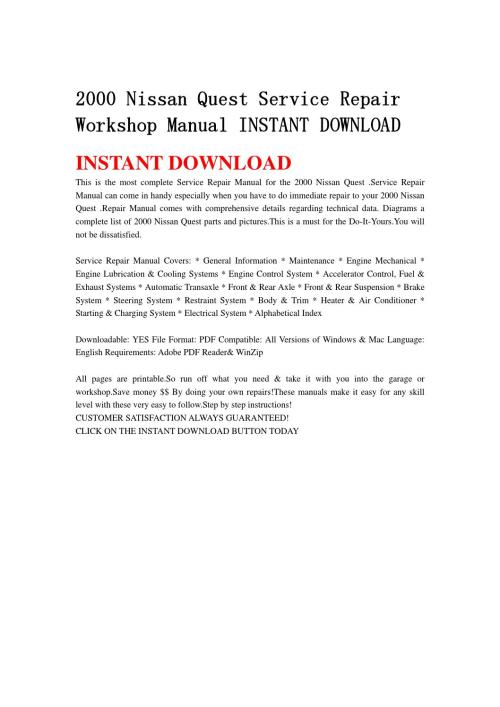 small resolution of 2000 nissan quest service repair workshop manual instant download by hfgsbefhnsebb issuu