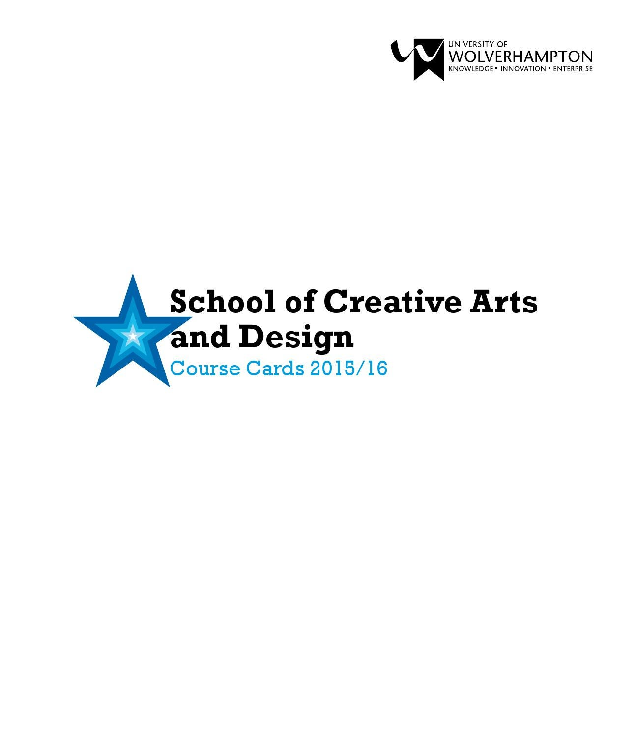 Creative Arts and Design Course Cards by University of