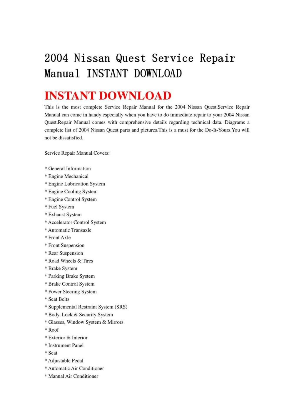 medium resolution of 2004 nissan quest service repair manual instant download by jdfhnsenn issuu