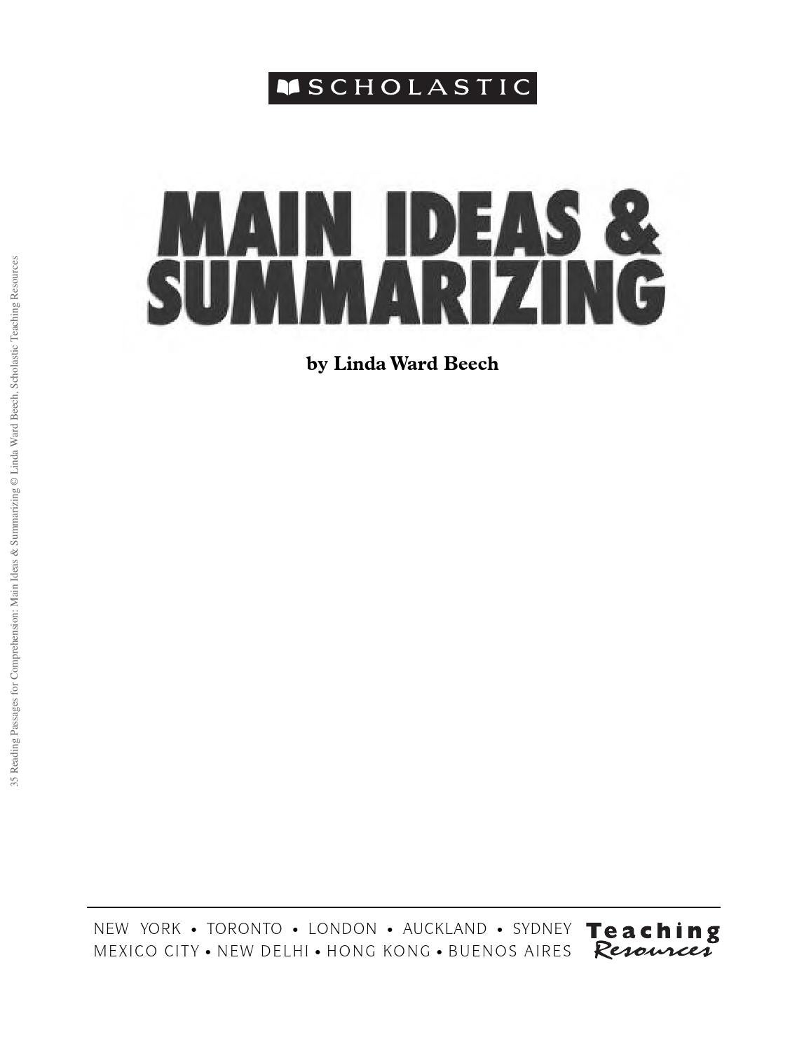35 reading passages for comprehension main ideas