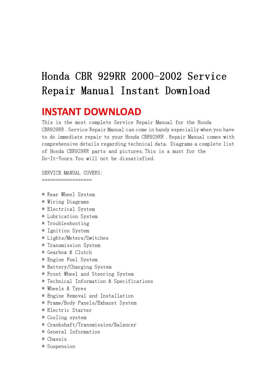 hight resolution of honda cbr 929rr 2000 2002 service repair manual instant download by fdhgsbefhnn issuu