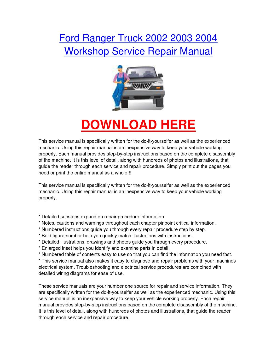 hight resolution of ford ranger truck 2002 2003 2004 workshop car service repair manual