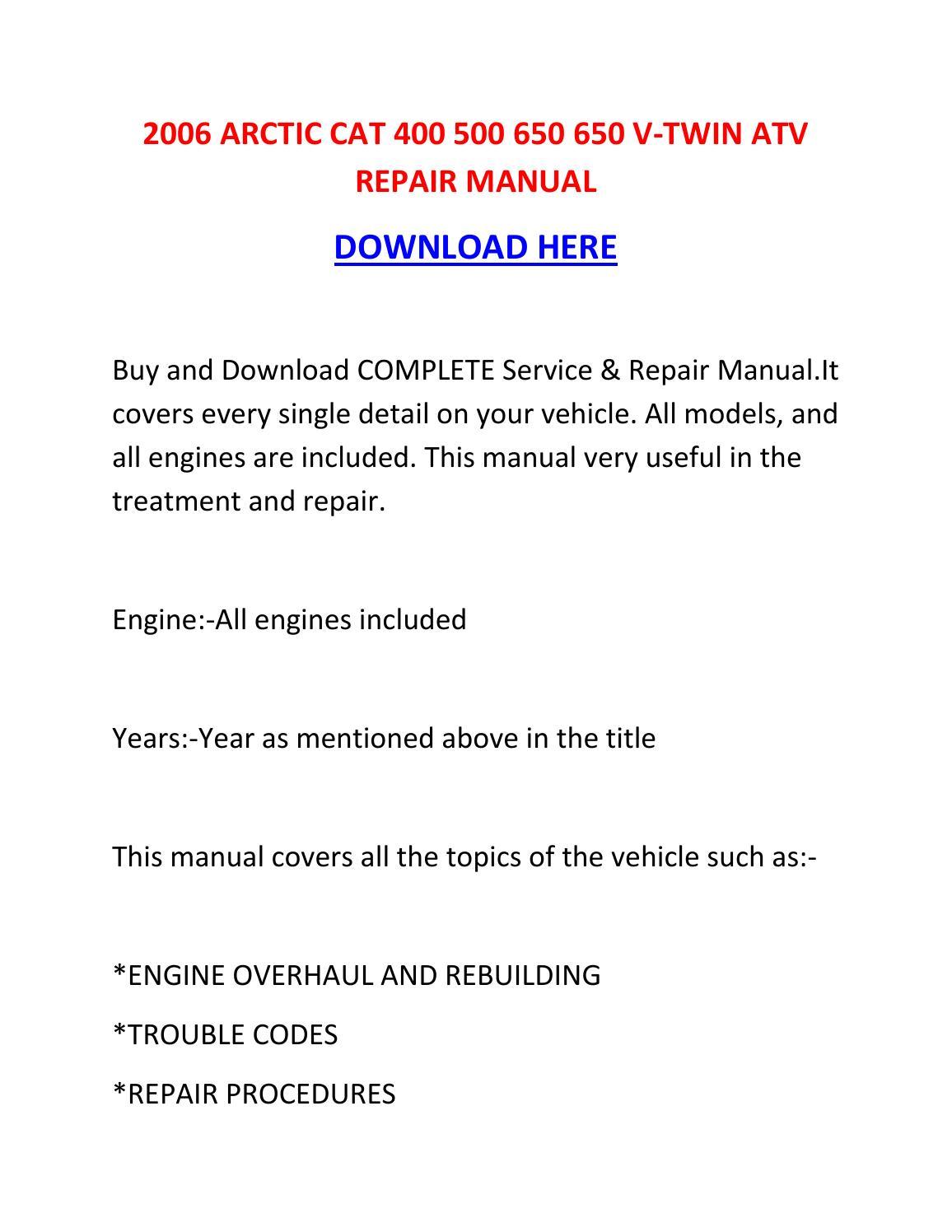 arctic cat 650 v twin wiring diagram ford diagrams f250 2006 400 500 atv repair manual